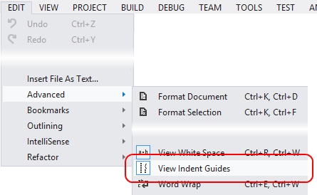 View Indent Guides menu